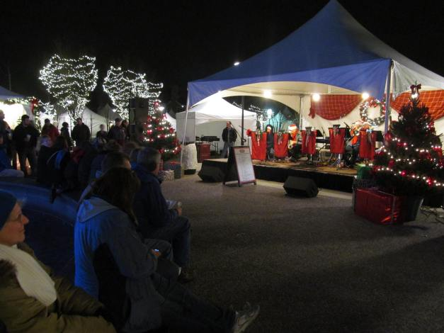 Birmingham, MI - Night concert. Annual WInter Market located in Shain Park.