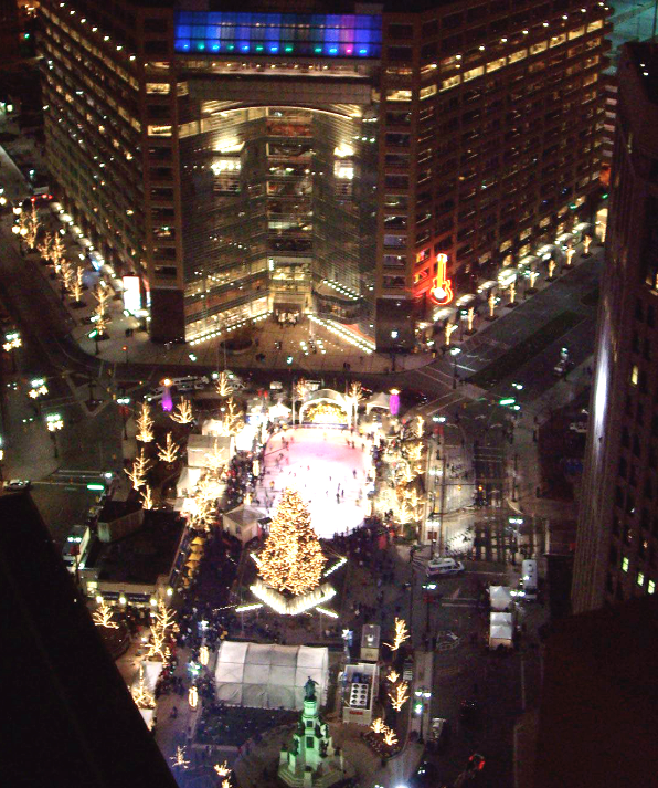 Detroit - The beginning of the winter season at Campus Martius and the celebration of Christmas and holiday time in the city