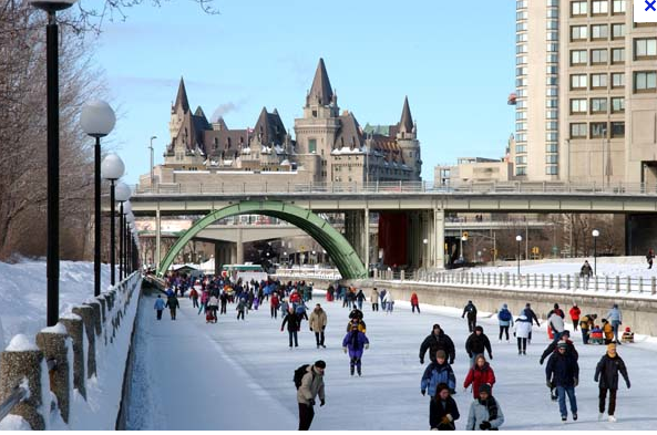 Ottawa. The frozen Rideau Canal - celebrating winter fun in the city - courtesy of Google Images