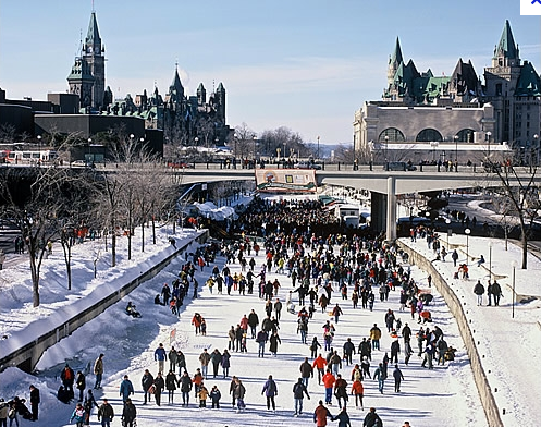 Ottawa.  Rideau Canal - the longest rink in the world- courtesy of Google Images