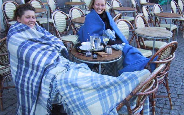 Copenhagen.  Wrapped up and cozy at an outdoor cafe- courtesy of Lars Gemzoe