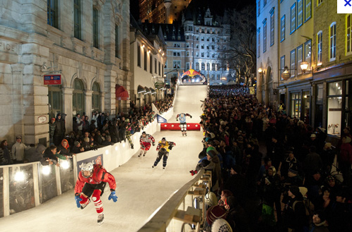 Quebec City.  Downhill ice skating races through the center of the city.- courtesy of Google Images