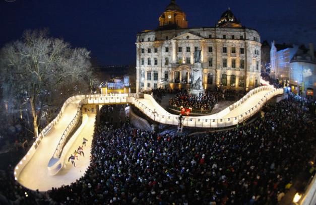 Quebec City.  Downhill ice skating track built in the center of the city.- courtesy of Google Images