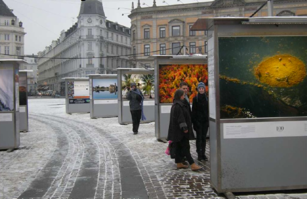 Copenhagen.  Photographic exhibits located in the center city streets.- courtesy of Lars Gemzoe