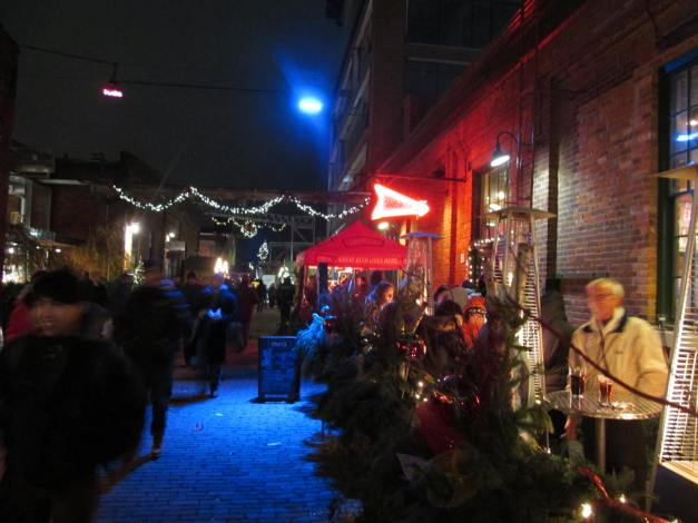 Toronto, Distillery District.Annual Christmas Market - Booths, food and drink
