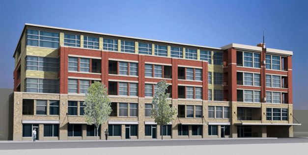 AFTER: 50 unit mixed-use residential/ office loft building creating a pedestrian-oriented experience and filling a major gap in the urban fabric of downtown Royal Oak, Michigan. Architect: Archive DS